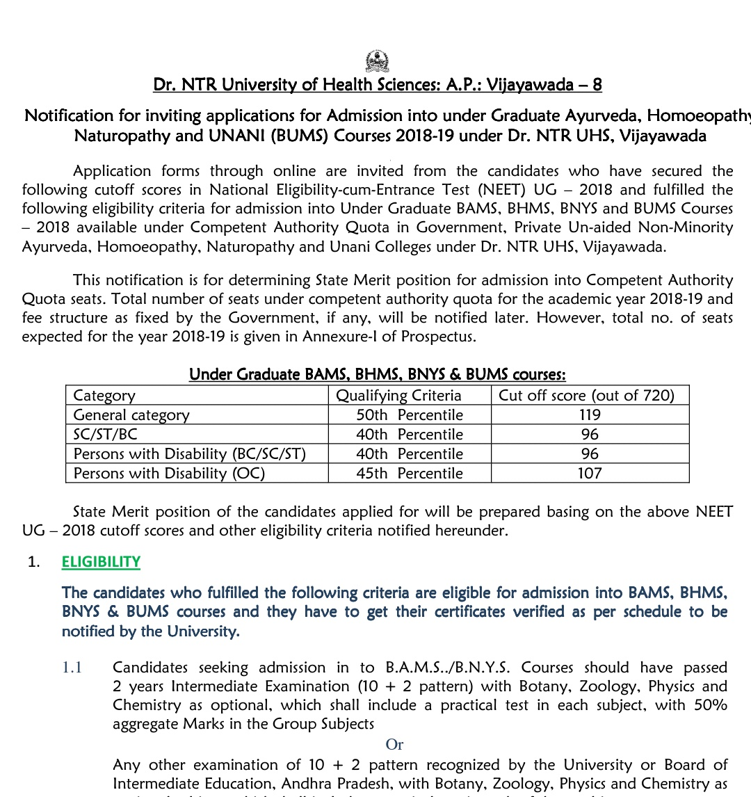 BHMS admission 2018 in NTR University of Health Sciences