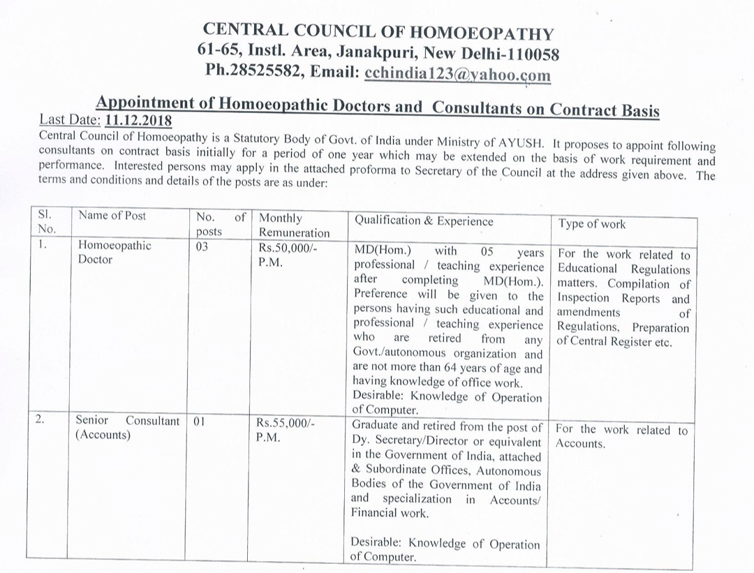 3 vacancies for PG homeopathy candidates in CCH